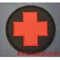 Нашивка Красный крест черный фон