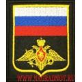 Шеврон Эмблема ВС РФ черный фон желтый кант