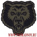 Нашивка с термоклеем Морда медведя фон оливкового цвета