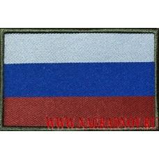 Жаккардовый патч Флаг России с липучкой кант оливкового цвета
