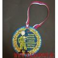 Вышитая медаль с лентой триколор подарок на день ВДВ