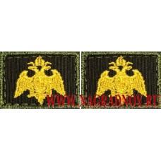 Петличные эмблемы Росгвардии вышитые с липучкой