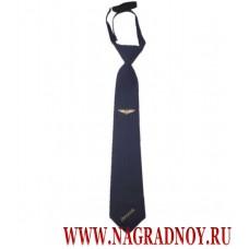 Галстук РЖД синего цвета с вышивкой