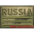 Камуфлированная нашивка Russia с липучкой расцветка Мох