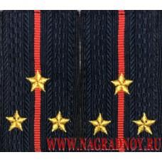 Фальшпогоны МВД нового образца с вышитыми звездами для старшего лейтенанта