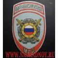 Нашивка жаккардовая ПОЛИЦИЯ подразделения охраны общественного порядка для рубашки голубого цвета