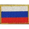 Нашивка на рукав Флаг России кант нить золотого цвета