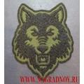 Нашивка с термоклеем Морда волка оливковый фон